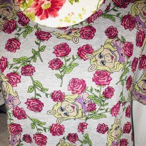 LuLaRoe Floral Carly Dress W/ Miss Piggy Sz Med